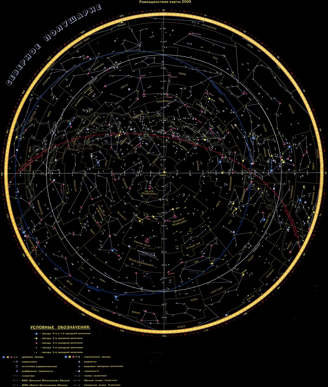 карта северного полушария